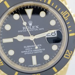 Rolex 116618LN 18k Yellow Gold Submariner With Black Dial Solid Links with Ceramic bezel 44mm