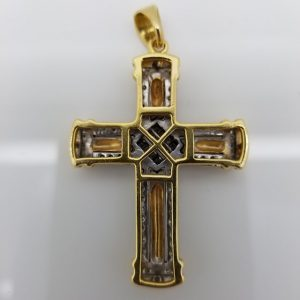 Two Tone 18 Karat Gold Cross w/ White Diamonds