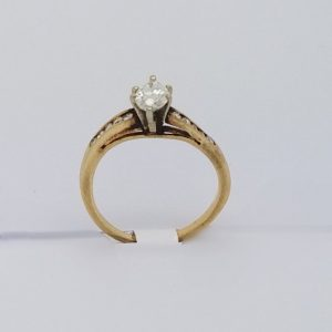 14k Marquise Diamond ring .70ct with swirled band and supporting diamonds in band