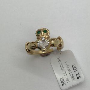 14K Diamond and Emerald Claddagh Ring