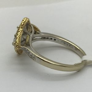 Enchanting 18k Gold and Diamond Two-Toned Ring with Fancy Yellow Diamonds