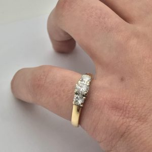 Classic 14k Two-Toned 3 Stone Ring