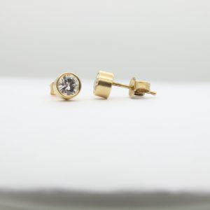 .80CTW Bezel Set Diamond Studs in Yellow Gold