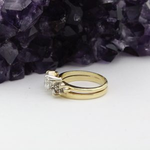 14k gold ring with diamond jacket