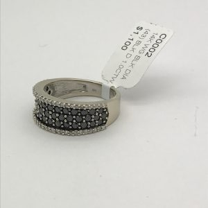 14k White gold band with black and white diamonds