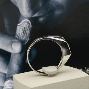 .92ctw Mens white gold diamond ring