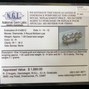 14k gold 5 diamond ring