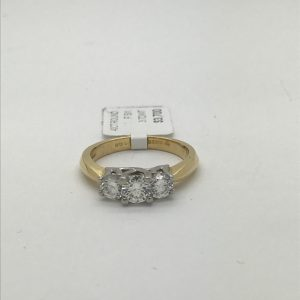 18k and platinum 3 stone ring