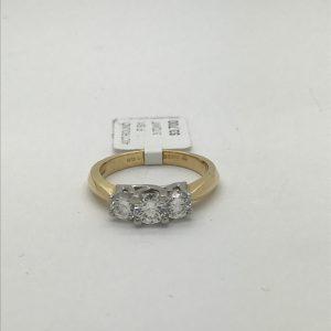 18k and platinum 3 stone ring