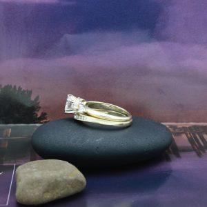 1.28ctw Ladies Wedding set with Round brilliant Diamond