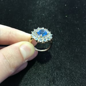 Blue Topaz/Dia Halo Cocktail Ring