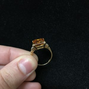 Emerald Cut Citrine/Dia Ring