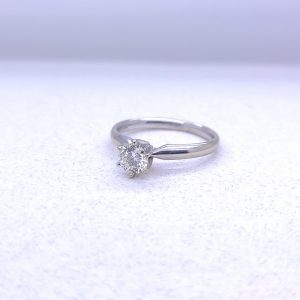 14K White gold solitaire with .55ct round diamond