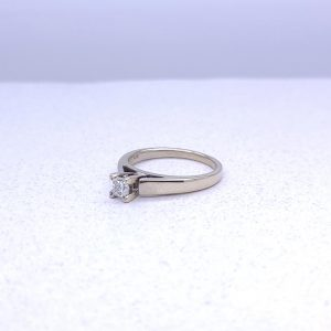 14K white gold solitaire ring